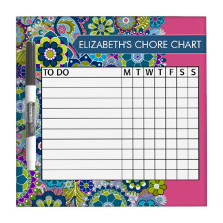 Blue and Pink Floral Pattern Chore Chart Dry Erase Board