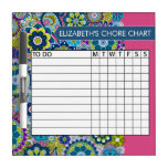 Blue and Pink Floral Pattern Chore Chart Dry Erase Whiteboard