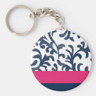 Blue and Pink Floral Pattern Keychain