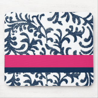 Blue and Pink Floral Pattern Mouse Pad