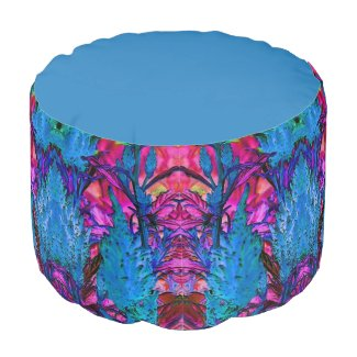 Blue and Pink Floral Surge Round Pouf