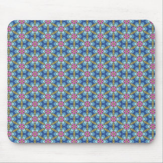 Blue and pink flower pattern mouse pad