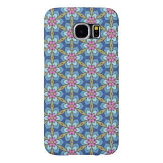 Blue and pink flower pattern samsung galaxy s6 cases