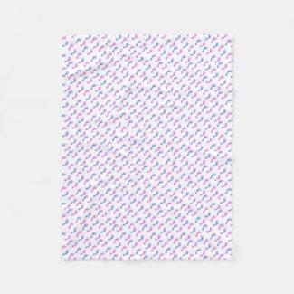 Blue and Pink Footprints | Choose Background Color Fleece Blanket