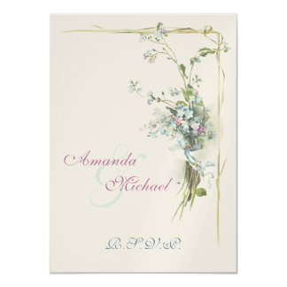 Blue and pink forget me nots 4.5x6.25 paper invitation card