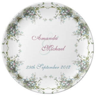 Blue and pink forget me nots porcelain plate