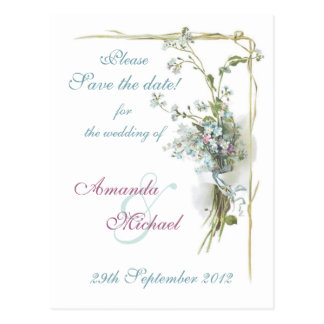 Blue and pink forget me nots postcard