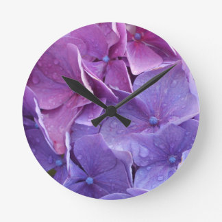 Blue and pink hortensia close up round wallclock