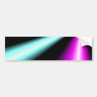 Blue and pink lightbeams on black background car bumper sticker