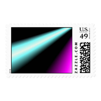 Blue and pink lightbeams on black background postage