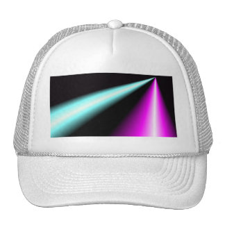 Blue and pink lightbeams on black background trucker hat
