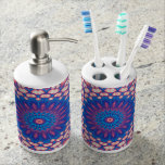 Blue And Pink Mandala Bathroom Set