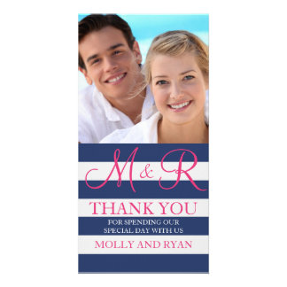 Blue and Pink Monogram Photo Thank You Cards