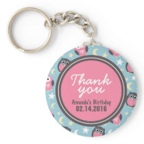 Blue and Pink Owl Birthday Thank You Keychain