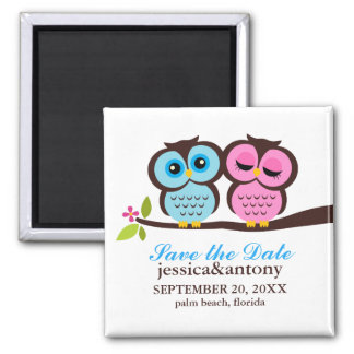 Blue and Pink Owls Wedding 2 Inch Square Magnet