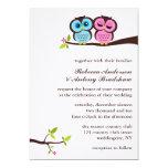 "Blue and Pink Owls Wedding 5"" X 7"" Invitation Card"