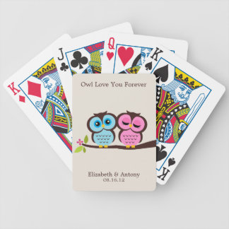 Blue and Pink Owls Wedding Bicycle Playing Cards