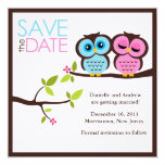 """Blue and Pink Owls Wedding 5.25"""" Square Invitation Card"""