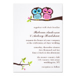 Blue and Pink Owls Wedding 5x7 Paper Invitation Card