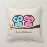 Blue and Pink Owls Wedding Pillows