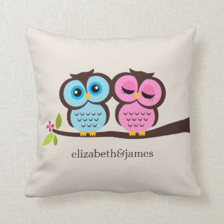 Blue and Pink Owls Wedding Throw Pillow
