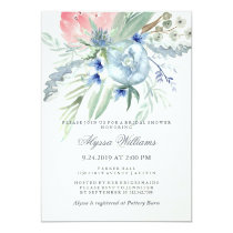 Blue and Pink Peony Watercolor Bridal Shower Card