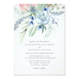 Blue and Pink Peony Watercolor Wedding Card