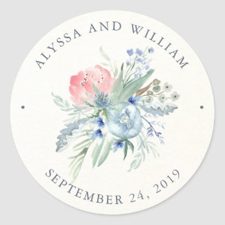 Blue and Pink Peony Watercolor Wedding Classic Round Sticker
