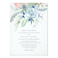 Blue and Pink Peony Watercolor Wedding Invitation