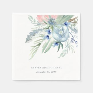 Blue and Pink Peony Watercolor Wedding Paper Napkin