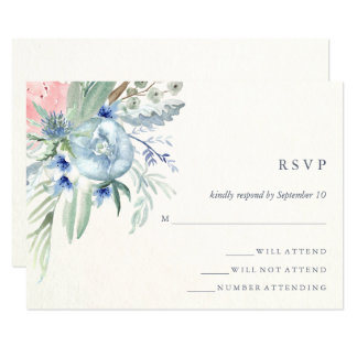 Blue and Pink Peony Watercolor Wedding RSVP