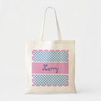 Blue and Pink Polka Dots Bride or Bridesmaid V33 Tote Bag