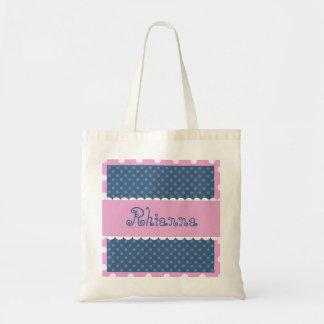 Blue and Pink Polka Dots Bride or Bridesmaid V368 Tote Bag