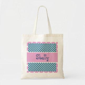 Blue and Pink Polka Dots Bride or Bridesmaid V370 Tote Bag