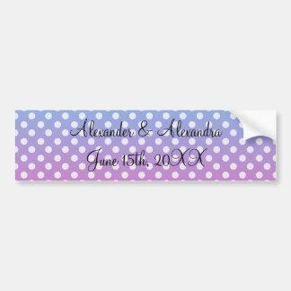 Blue and pink polka dots wedding favors bumper sticker