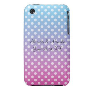Blue and pink polka dots wedding favors Case-Mate iPhone 3 cases