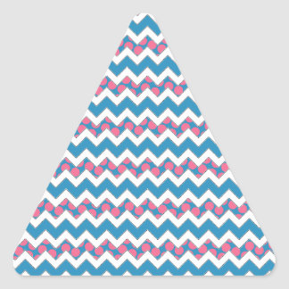 Blue and Pink Polka Dotted Chevron Triangle Sticker
