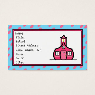Blue and Pink Retro Dots Business Card
