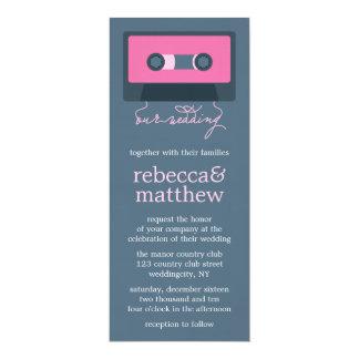 Blue and Pink Retro Mixtape Wedding Card