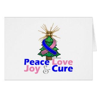 Blue and Pink Ribbon Xmas Peace Love, Joy & Cure Greeting Card