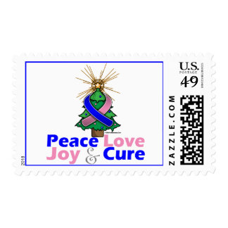 Blue and Pink Ribbon Xmas Peace Love, Joy & Cure Stamp
