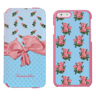 Blue and Pink Roses iPhone 6 Wallet Case