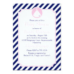 Blue and Pink Sailboat  Baby Shower 5x7 Paper Invitation Card