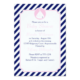 "Blue and Pink Sailboat  Baby Shower 5"" X 7"" Invitation Card"