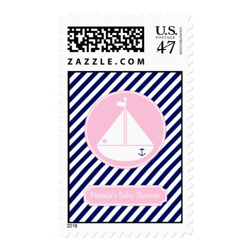 Blue and Pink Sailboat  Baby Shower Postage