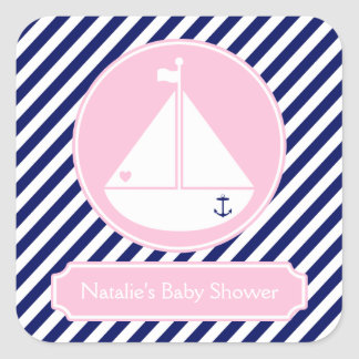 Blue and Pink Sailboat  Baby Shower Square Sticker