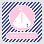 Blue and Pink Sailboat  Baby Shower Square Stickers