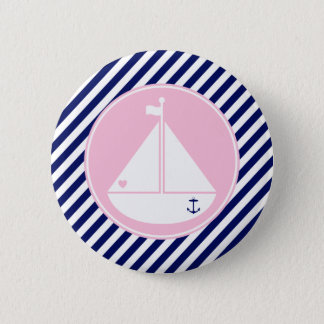 Blue and Pink Sailboat Button