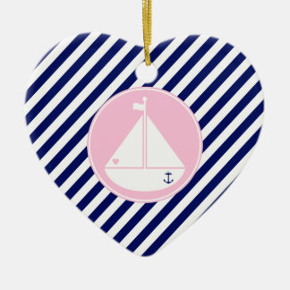 Blue and Pink Sailboat Ceramic Ornament