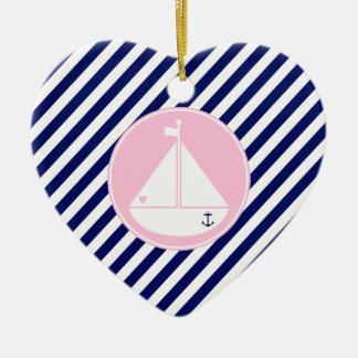 Blue and Pink Sailboat Christmas Ornaments